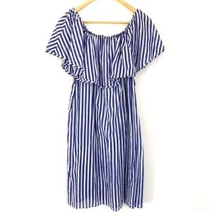 J.CREW Off the Shoulder Stripped Ruffle Cover Up
